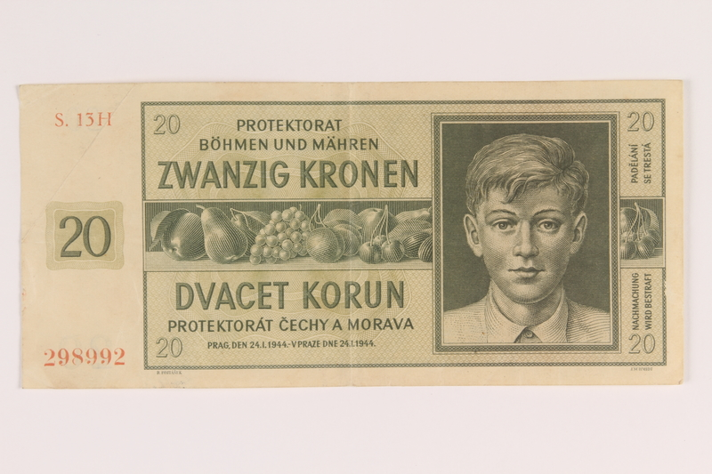 2009.263.15 front German occupation currency note, 20 kronen, issued in the Protectorate of Bohemia and Moravia