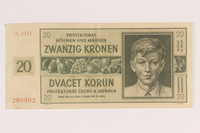2009.263.15 front German occupation currency note, 20 kronen, issued in the Protectorate of Bohemia and Moravia  Click to enlarge