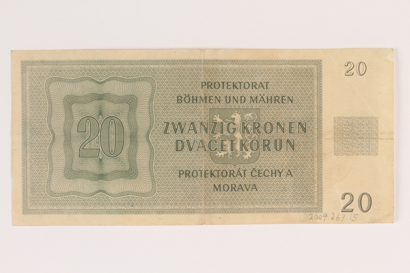 2009.263.15 back German occupation currency note, 20 kronen, issued in the Protectorate of Bohemia and Moravia