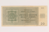 2009.263.15 back German occupation currency note, 20 kronen, issued in the Protectorate of Bohemia and Moravia  Click to enlarge