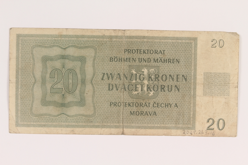 2009.263.16 back German occupation currency note, 20 kronen,  issued in the Protectorate of Bohemia and Moravia