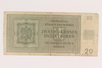 2009.263.16 back German occupation currency note, 20 kronen,  issued in the Protectorate of Bohemia and Moravia  Click to enlarge