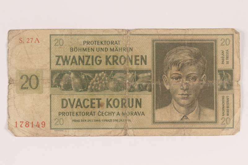 2009.263.17 front German occupation currency note, 20 kronen,  issued in the Protectorate of Bohemia and Moravia