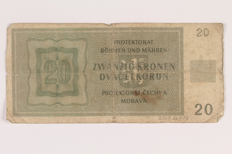 2009.263.17 back German occupation currency note, 20 kronen,  issued in the Protectorate of Bohemia and Moravia
