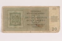 2009.263.17 back German occupation currency note, 20 kronen,  issued in the Protectorate of Bohemia and Moravia  Click to enlarge