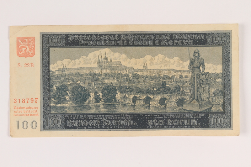 2009.263.18 front German occupation currency note, 100 kronen, issued in the Protectorate of Bohemia and Moravia