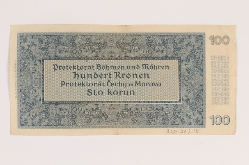 2009.263.18 back German occupation currency note, 100 kronen, issued in the Protectorate of Bohemia and Moravia
