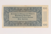 2009.263.18 back German occupation currency note, 100 kronen, issued in the Protectorate of Bohemia and Moravia  Click to enlarge