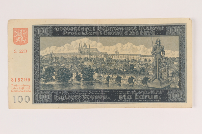 2009.263.19 front German occupation currency note, 100 kronen,  issued in the Protectorate of Bohemia and Moravia