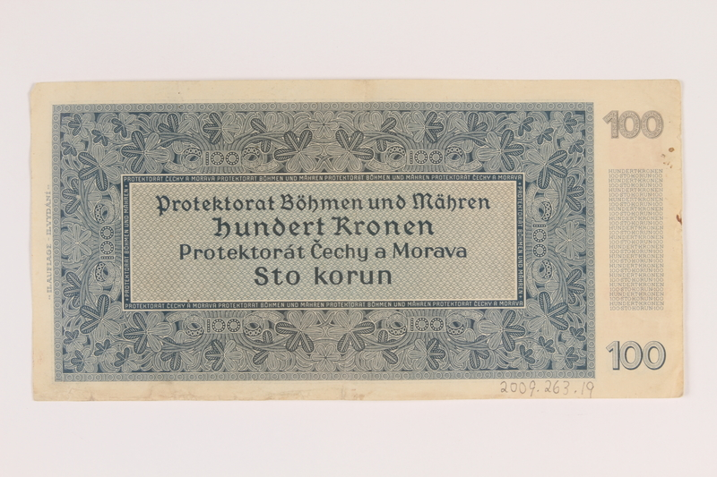 2009.263.19 back German occupation currency note, 100 kronen,  issued in the Protectorate of Bohemia and Moravia