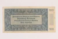 2009.263.19 back German occupation currency note, 100 kronen,  issued in the Protectorate of Bohemia and Moravia  Click to enlarge