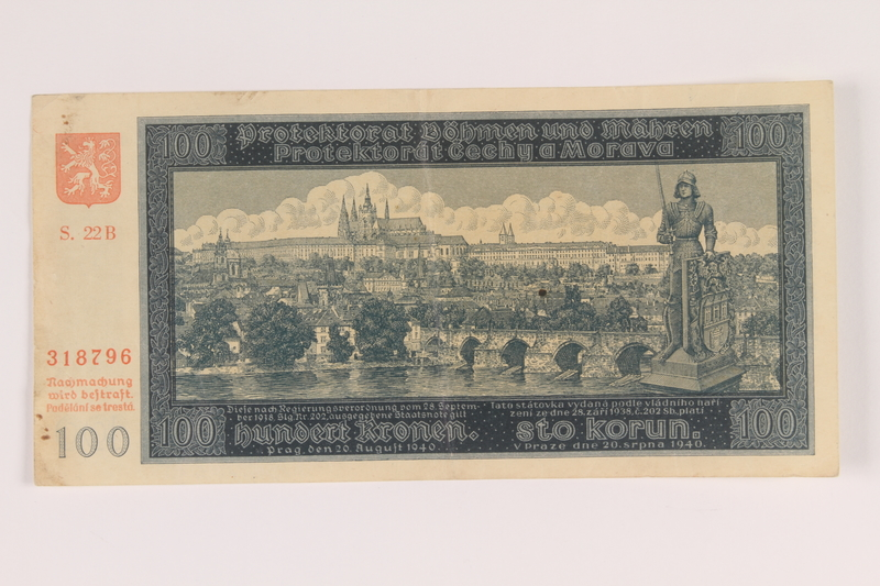 2009.263.20 front German occupation currency note, 100 kronen, issued in the Protectorate of Bohemia and Moravia