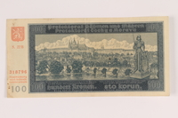 2009.263.20 front German occupation currency note, 100 kronen, issued in the Protectorate of Bohemia and Moravia  Click to enlarge
