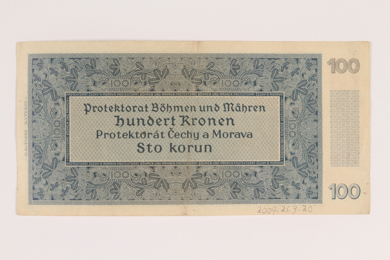 2009.263.20 back German occupation currency note, 100 kronen, issued in the Protectorate of Bohemia and Moravia