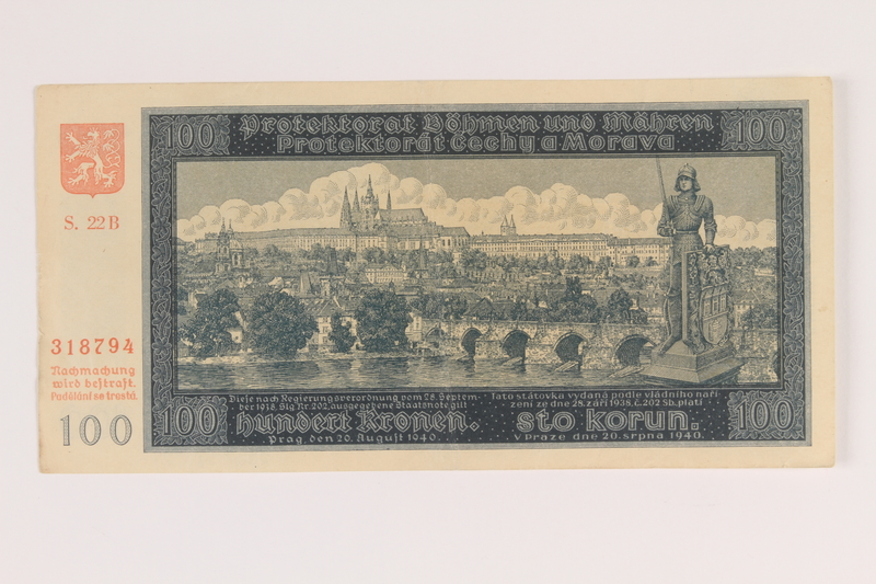 2009.263.21 front German occupation currency note, 100 kronen,  issued in the Protectorate of Bohemia and Moravia