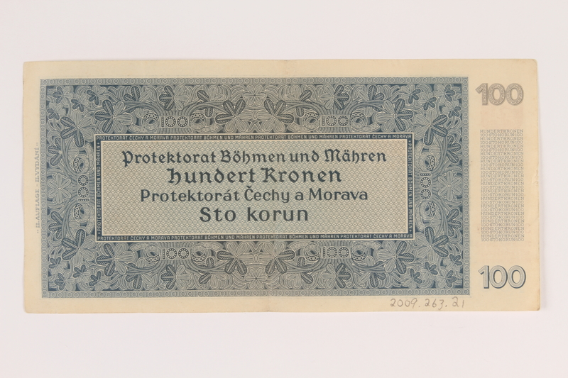 2009.263.21 back German occupation currency note, 100 kronen,  issued in the Protectorate of Bohemia and Moravia