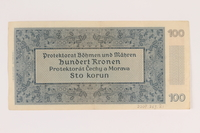 2009.263.21 back German occupation currency note, 100 kronen,  issued in the Protectorate of Bohemia and Moravia  Click to enlarge