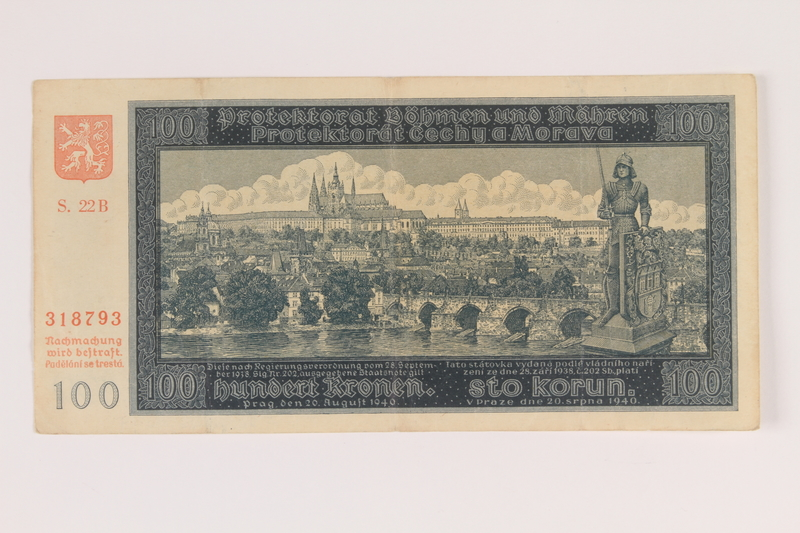 2009.263.22 front Protectorate of Bohemia and Moravia, 100 kronen note, issued in German occupied Czechosloavakia