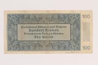 2009.263.22 back Protectorate of Bohemia and Moravia, 100 kronen note, issued in German occupied Czechosloavakia  Click to enlarge