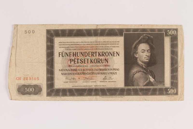 2009.263.23 front German occupation currency note, 500 kronen, issued in the Protectorate of Bohemia and Moravia