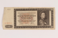 2009.263.23 front German occupation currency note, 500 kronen, issued in the Protectorate of Bohemia and Moravia  Click to enlarge
