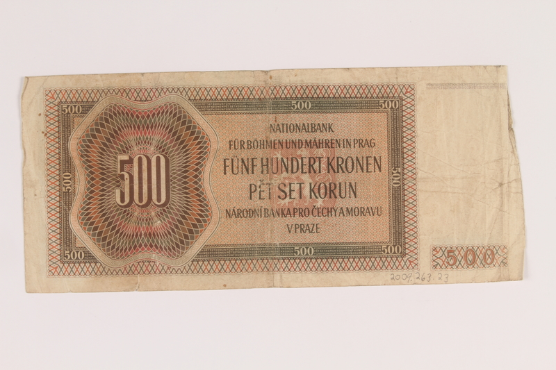 2009.263.23 back German occupation currency note, 500 kronen, issued in the Protectorate of Bohemia and Moravia