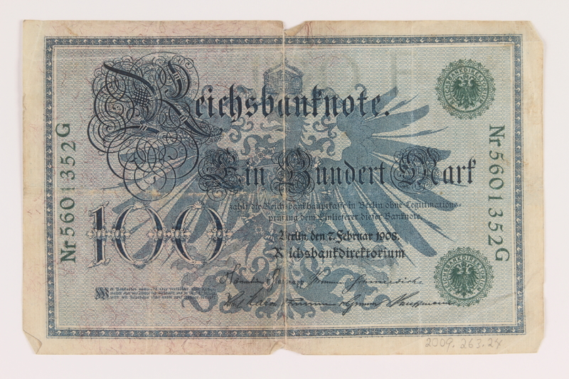 2009.263.24 back Imperial Germany Reichsbanknote, 100 marks, 100 marks, issued in 1908