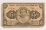 Luxembourg currency note, 5 francs, issued during the war