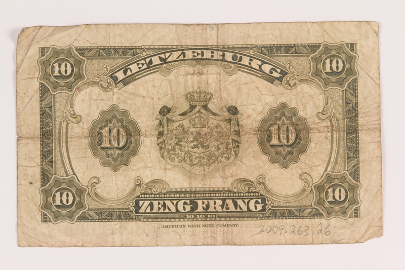 2009.263.26 back Luxembourg currency note, 10 francs, issued during the war