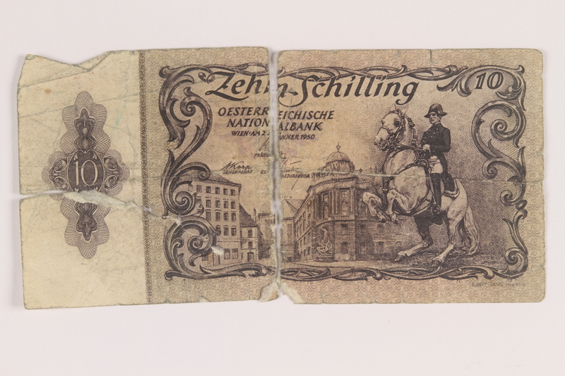 2009.263.27 front Austria paper currency note, 10 schillings, issued postwar