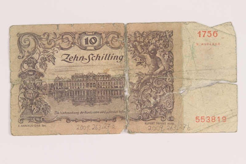 2009.263.27 back Austria paper currency note, 10 schillings, issued postwar
