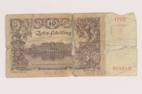 2009.263.27 back Austria paper currency note, 10 schillings, issued postwar  Click to enlarge