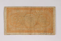 2009.263.29 back Italy currency note, 2 lire, issued by the Fascist government  Click to enlarge