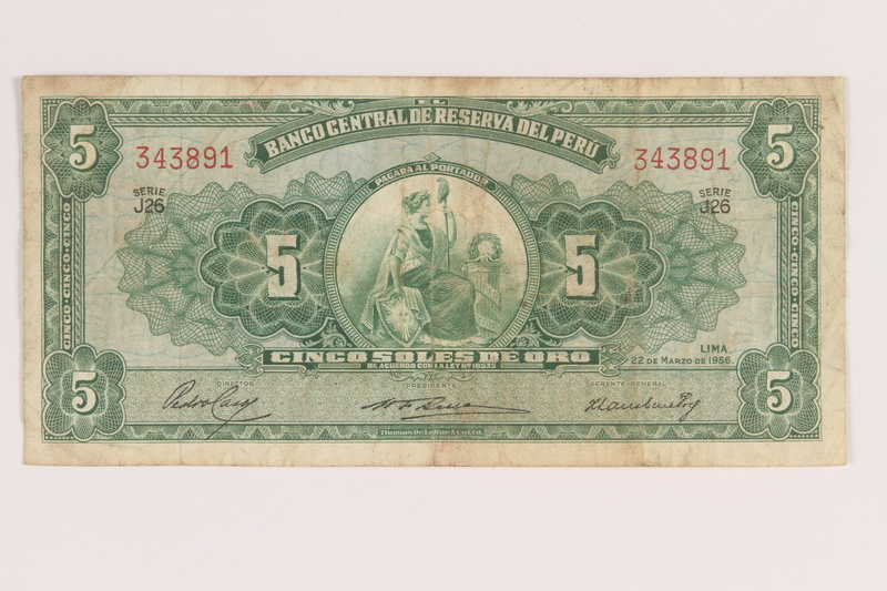 2009.263.30 front Peru currency note, 5 soles de oro, issued postwar