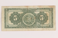 2009.263.30 back Peru currency note, 5 soles de oro, issued postwar  Click to enlarge