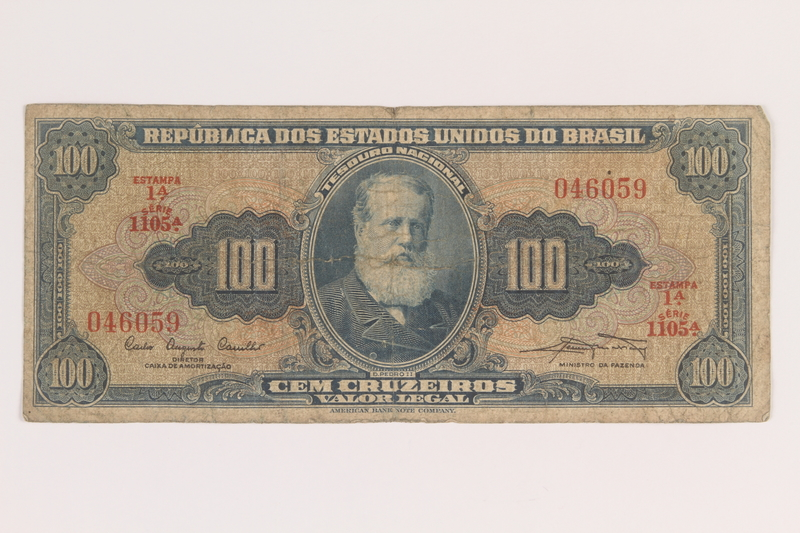 2009.263.31 front Brazil currency note, 100 cruzeiros, issued postwar
