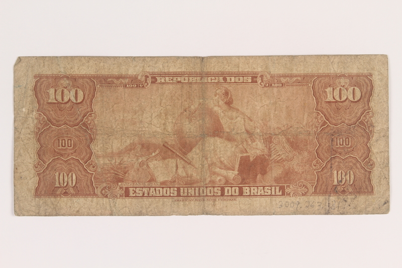 2009.263.31 back Brazil currency note, 100 cruzeiros, issued postwar