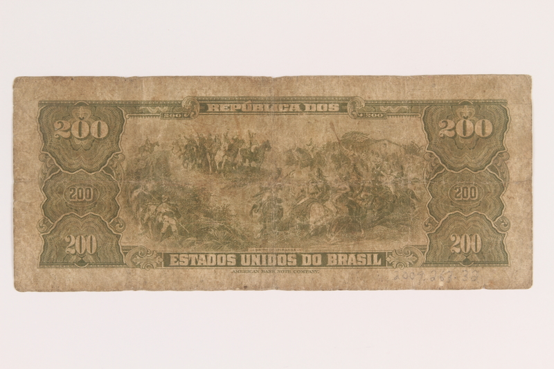 2009.263.32 back Brazil currency note, 200 cruzeiros, issued postwar.