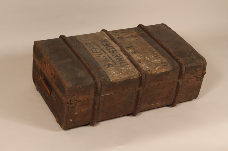 1990.39.1 back Trunk sent to an Austrian Jewish youth after he fled