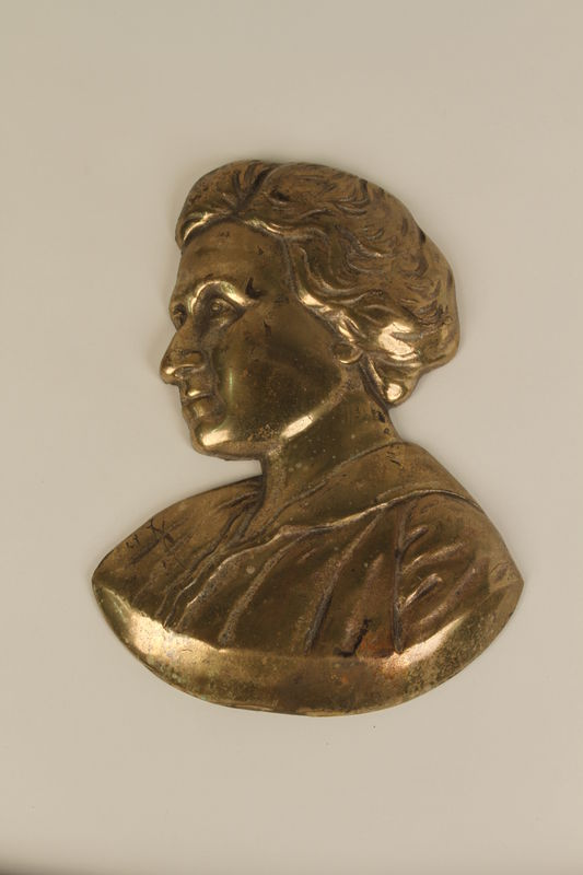 1990.41.10 front Metal portrait bust of Rosa Luxemburg
