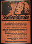 "Nazi propaganda poster advertising a special issue of ""Der Stuermer"" on Rassenschande [Race Pollution]"