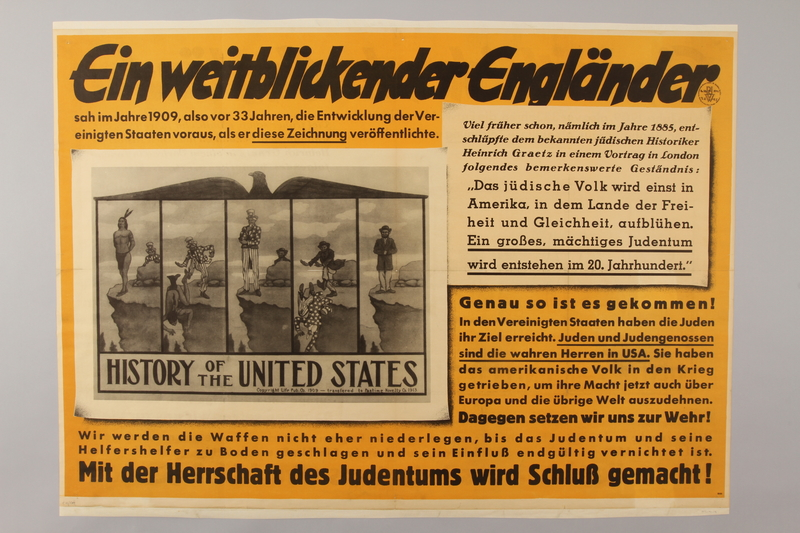 1990.41.14 front Nazi poster on the need to destroy the US-Jewish conspiracy to rule the world