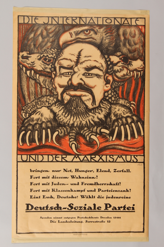 1990.41.15 front German Socialist Party election poster depicting Lenin as a monster