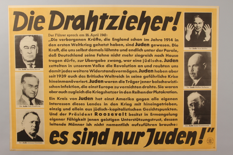 1990.41.16 front Anti-Semitic propaganda poster with pictures of several prominent Jewish figures