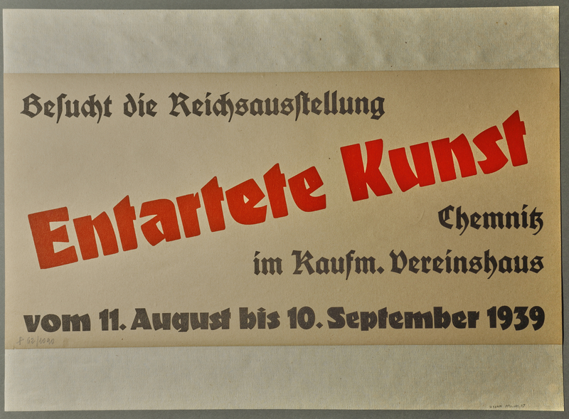 1990.41.17 front German poster advertising Entartete Kunst (Degenerate Art) exhibition