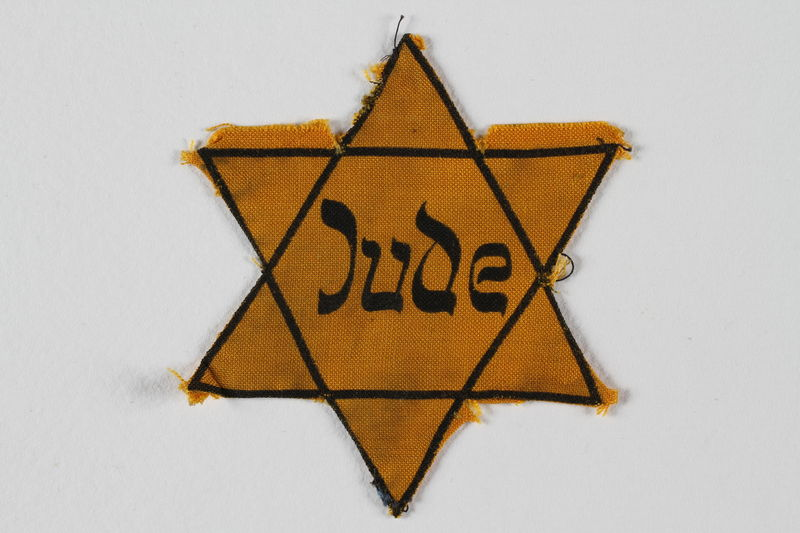 2010.177.1 front Star of David badge with Jude given to German Jewish woman