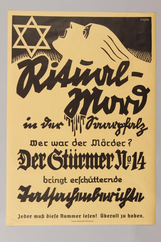 1990.41.19 front Poster advertisment for Der Sturmer