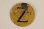 Yellow metal badge with Croatian Z for Jew worn by a Sephardic Jew