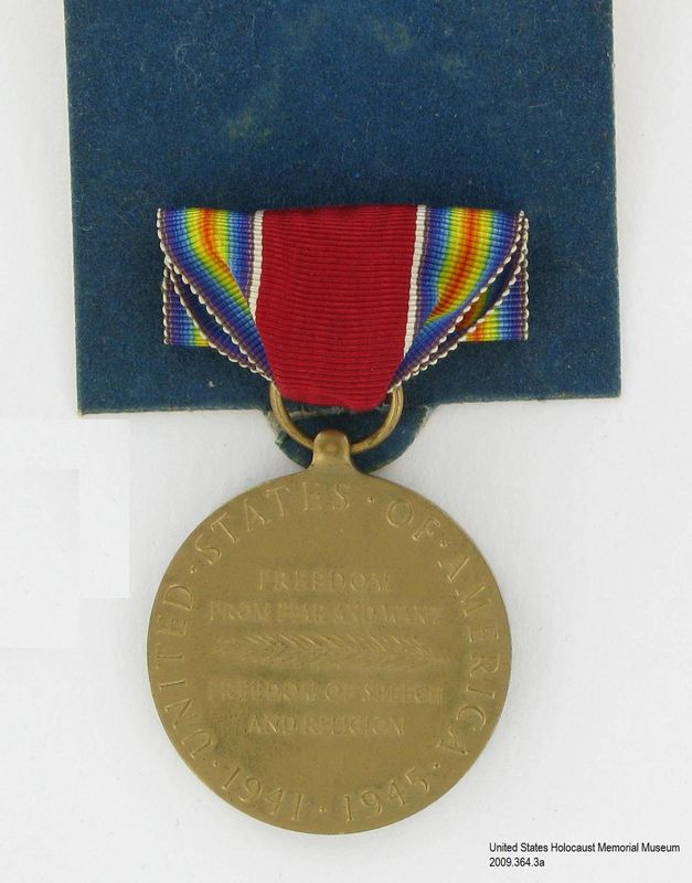 2009.364.3a back, World War II Victory Medal, Tom T. Kovary US Army Victory Medal, two ribbon bars and presentation box awarded to a Czech Jewish refugee