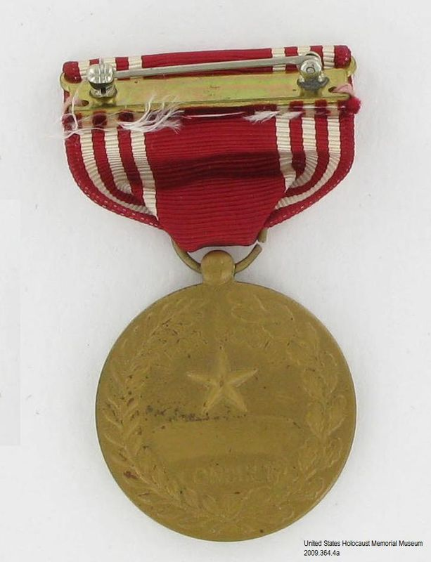 2009.364.4a back, US Army Good Conduct Medal, Tom T. Kovary US Army Good Conduct Medal, 3 ribbon bars, and 3 ribbons awarded to a Czech Jewish refugee